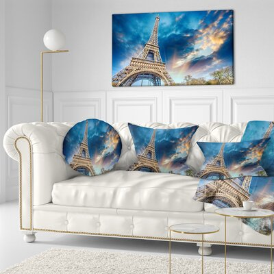 Beautiful View of Paris Eiffel Tower under Fiery Sky Cityscape Throw Pillow Size: 16 x 16