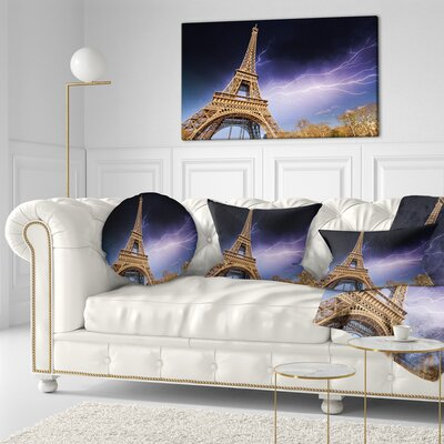 Beautiful View of Paris Eiffel Tower under Sky Cityscape Throw Pillow Size: 16 x 16