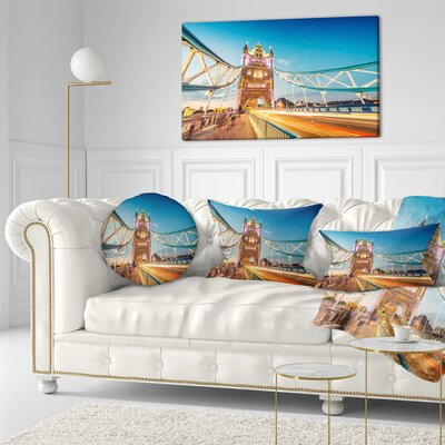 Beautiful View of Tower Bridge London Cityscape Throw Pillow Size: 20 x 20