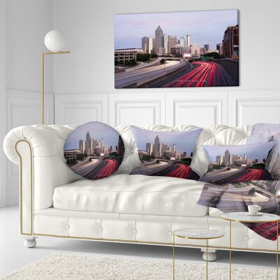 Atlanta Georgia Rush Hour Traffic at Dusk Cityscape Throw Pillow Size: 20 x 20