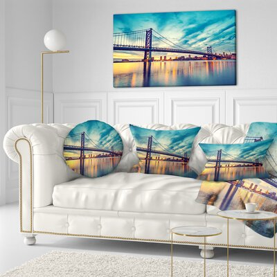 Ben Franklin Bridge in Philadelphia Cityscape Throw Pillow Size: 20 x 20