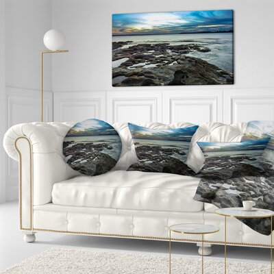 Beautiful Dark Seashore Australia Cityscape Throw Pillow Size: 16 x 16