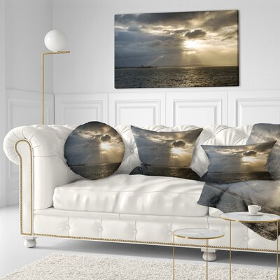 Beautiful Cloudy Sunset at Australia Beach Seashore Throw Pillow Size: 16 x 16