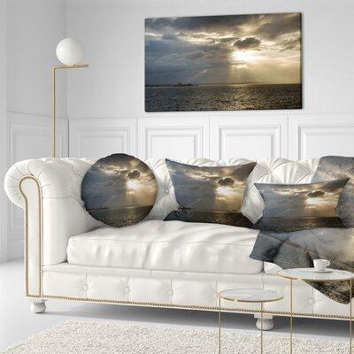 Beautiful Cloudy Sunset at Australia Beach Seashore Throw Pillow Size: 20 x 20
