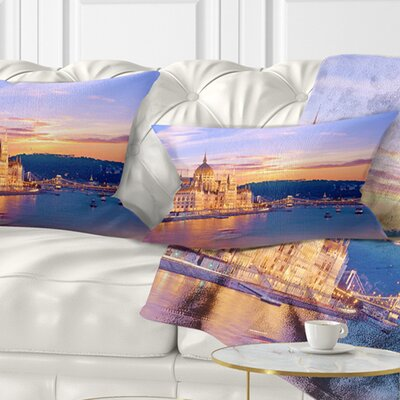Parliament and Bridge over Danube Cityscape Pillow Size: 12 x 20, Product Type: Lumbar Pillow