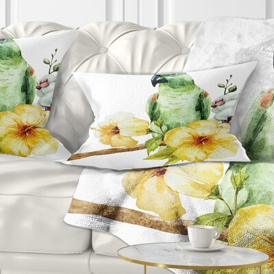 Parrot with Flowers Floral Painting Pillow Size: 12 x 20, Product Type: Lumbar Pillow