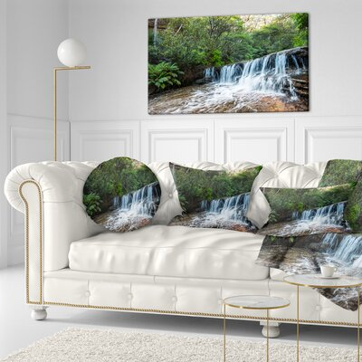 Beautiful Waterfall in New Australia Landscape Printed Throw Pillow Size: 20 x 20
