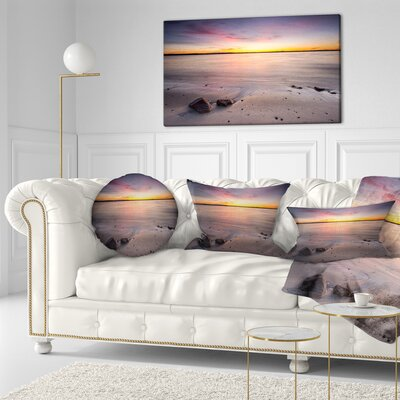Beautiful Natural Sea During Sunrise Seashore Throw Pillow Size: 16 x 16