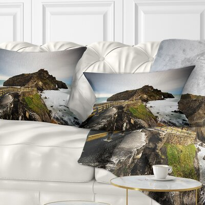 Path to Cape and Chapel in Spain Seashore Photo Pillow Size: 12 x 20, Product Type: Lumbar Pillow