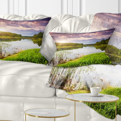 Lake Under overcast Sky Landscape Photography Pillow Size: 12 x 20, Product Type: Lumbar Pillow