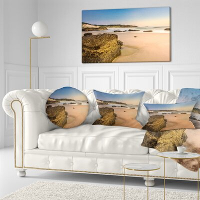 Beautiful Rocky Seashore at Norah Head Seashore Throw Pillow Size: 16 x 16