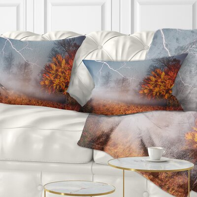 Lighting in Autumn Forest Landscape Photography Pillow Size: 12 x 20, Product Type: Lumbar Pillow