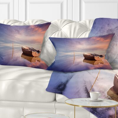 Lonely Boat in Sea Seascape Pillow Size: 12 x 20, Product Type: Lumbar Pillow
