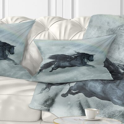Pegasus in the Heaven Animal Painting Pillow Size: 12 x 20, Product Type: Lumbar Pillow