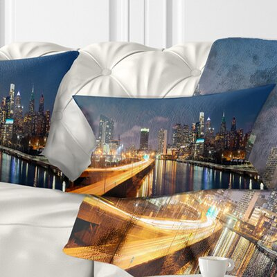 Philadelphia Skyline at Night Cityscape Pillow Size: 12 x 20, Product Type: Lumbar Pillow