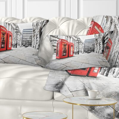Phone Booths on Street Cityscape Pillow Size: 12 x 20, Product Type: Lumbar Pillow