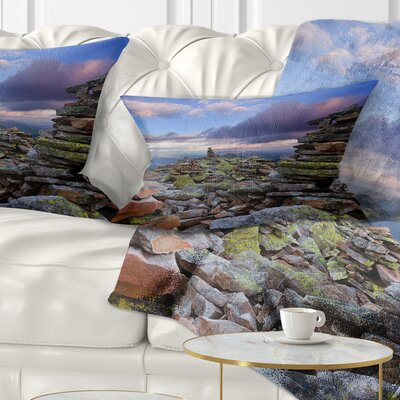 Piled Stones in Summer Mountains Landscape Photography Pillow Size: 12 x 20, Product Type: Lumbar Pillow