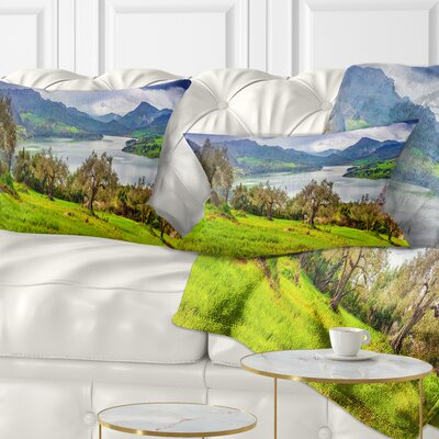 Lake Rosamarina Panorama Landscape Photo Pillow Size: 12 x 20, Product Type: Lumbar Pillow