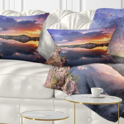Large Summer Clouds Reflection Landscape Photography Pillow Size: 12 x 20, Product Type: Lumbar Pillow