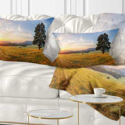 Lonely Tree on Meadow at Sunset Landscape Photography Pillow Size: 12 x 20, Product Type: Lumbar Pillow