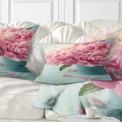 Peony Flowers in Vase Floral Pillow Size: 12 x 20, Product Type: Lumbar Pillow