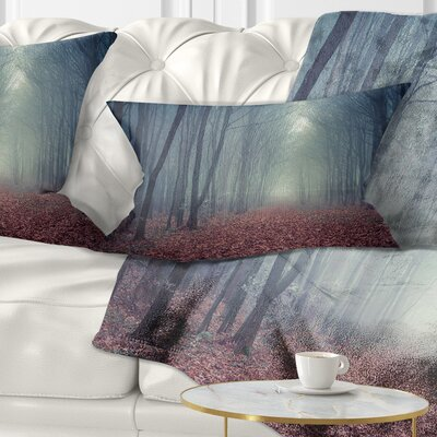 Misty Path in Forest Landscape Photography Pillow Size: 12 x 20, Product Type: Lumbar Pillow