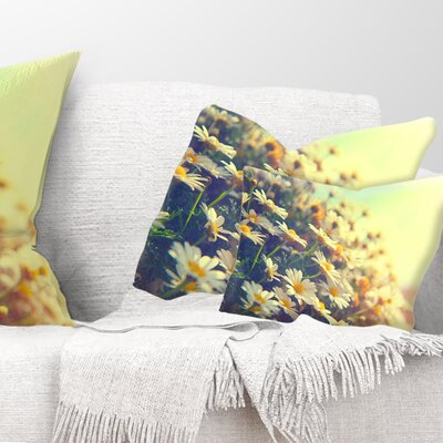 Nature with Blooming Chamomiles Floral Pillow Size: 12 x 20, Product Type: Lumbar Pillow