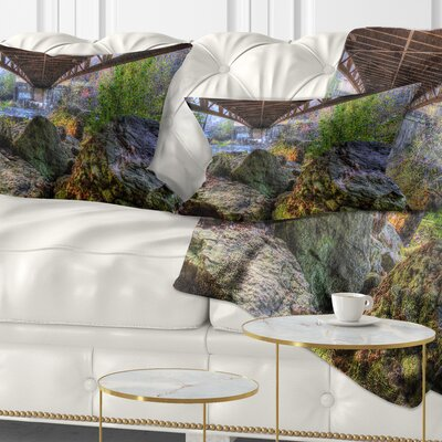 Large Rocks Under Bridge in Creek Landscape Photography Pillow Size: 12 x 20, Product Type: Lumbar Pillow