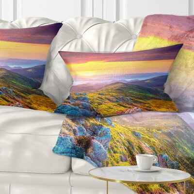 Rhododendron Flowers in Hills Landscape Photography Pillow Size: 12 x 20, Product Type: Lumbar Pillow