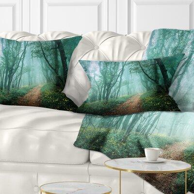 Light Green Mystical Fall Forest Landscape Photography Pillow Size: 12 x 20, Product Type: Lumbar Pillow