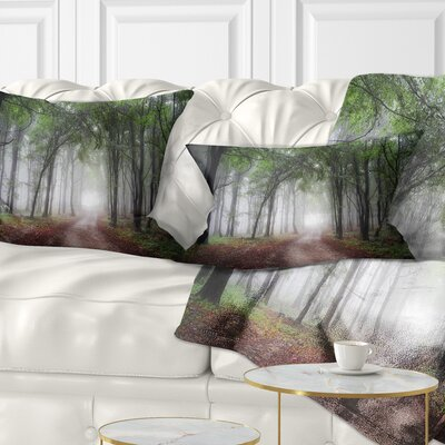Light Through Green Fall Forest Landscape Photography Pillow Size: 12 x 20, Product Type: Lumbar Pillow