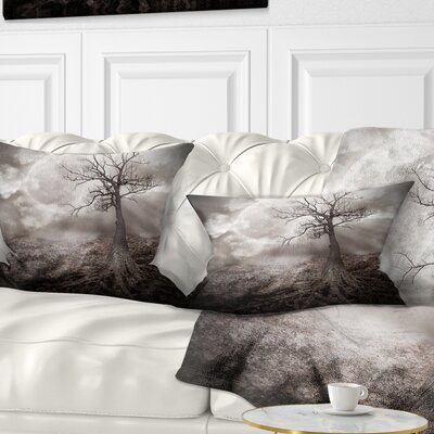 Lonely Tree Holding the Moon Landscape Printed Pillow Size: 12 x 20, Product Type: Lumbar Pillow