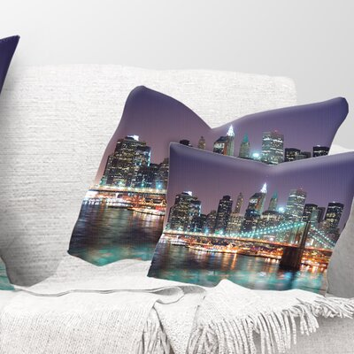 New York City Manhattan Skyscrapers Cityscape Pillow Size: 12 x 20, Product Type: Lumbar Pillow
