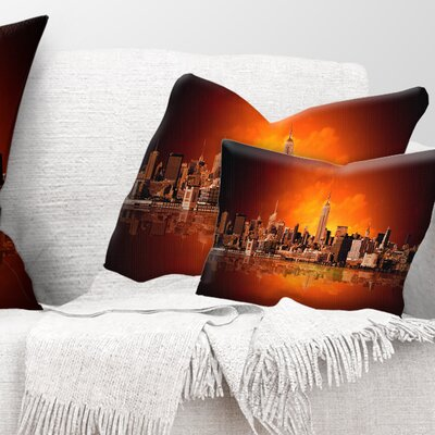 New York City Panorama in Light Cityscape Pillow Size: 12 x 20, Product Type: Lumbar Pillow