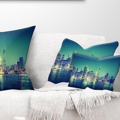 New York City Panorama Night Concept Cityscape Pillow Size: 12 x 20, Product Type: Lumbar Pillow