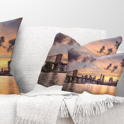 New York City Skyline under Clouds Cityscape Pillow Size: 12 x 20, Product Type: Lumbar Pillow