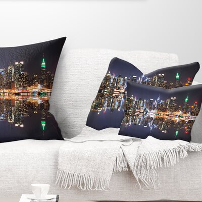 New York City Skyscrapers in Shade Cityscape Pillow Size: 12 x 20, Product Type: Lumbar Pillow