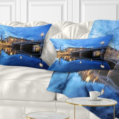 Illuminated Stockholm Cityscape Pillow Size: 12 x 20, Product Type: Lumbar Pillow