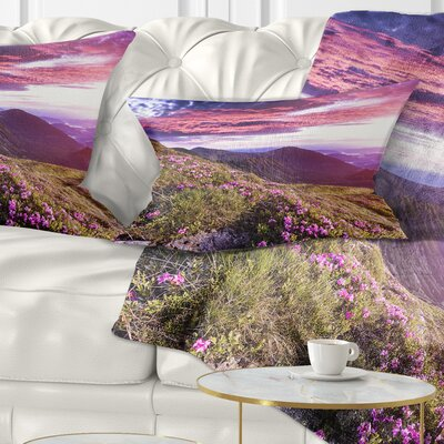 Rhododendron Flowers in Hills Landscape Photo Pillow Size: 12 x 20, Product Type: Lumbar Pillow