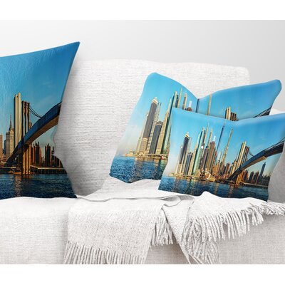 New York City with Brooklyn Bridge Cityscape Pillow Size: 12 x 20, Product Type: Lumbar Pillow