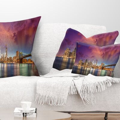 New York Manhattan Skyline with Clouds Cityscape Pillow Size: 12 x 20, Product Type: Lumbar Pillow