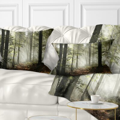 Light in Dense Fall Forest with Fog Landscape Printed Pillow Size: 12 x 20, Product Type: Lumbar Pillow