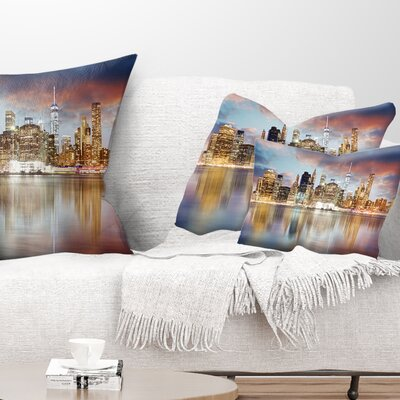 New York Skyline at Sunrise with Reflection Cityscape Pillow Size: 12 x 20, Product Type: Lumbar Pillow