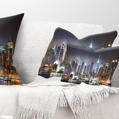 New York Times Square in Cityscape Pillow Size: 12 x 20, Product Type: Lumbar Pillow