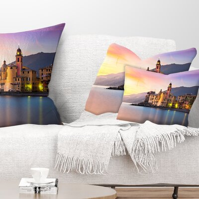Old Mediterranean Town at Sunrise Seashore Pillow Size: 12 x 20, Product Type: Lumbar Pillow