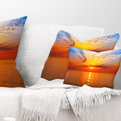 Sea Sunrise Under Sky Seashore Pillow Size: 12 x 20, Product Type: Lumbar Pillow
