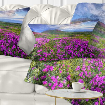 Rhododendron Flowers in Mountains Landscape Photography Pillow Size: 12 x 20, Product Type: Lumbar Pillow