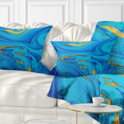 Light Abstract Acrylic Paint Mix Abstract Pillow Size: 12 x 20, Product Type: Lumbar Pillow