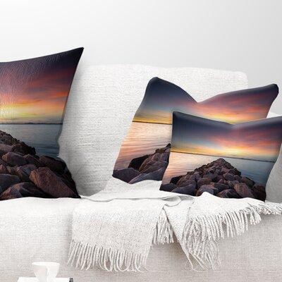 Long Stone Bridge into Beautiful Sea Seashore Pillow Size: 12 x 20, Product Type: Lumbar Pillow