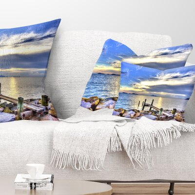 Makeshift Wooden Pier into the Sea Seashore Pillow Size: 12 x 20, Product Type: Lumbar Pillow